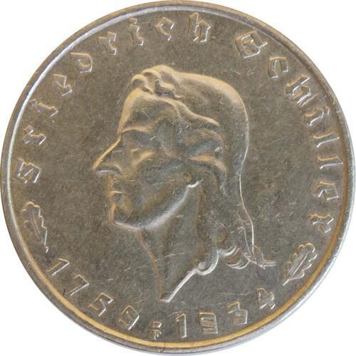 Vorderseite:Deutschland : 2 Reichsmark Schiller patina 1934 ss/vz.
