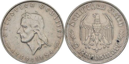 Lieferumfang:Deutschland : 2 Reichsmark Schiller  1934 f.vz.