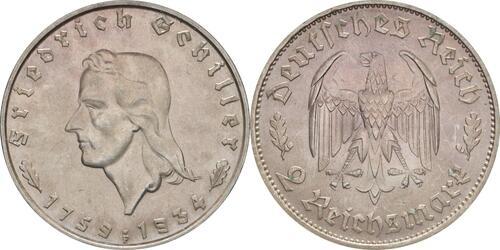 Lieferumfang :Deutschland : 2 Reichsmark Schiller winz. Kratzer 1934 Stgl.