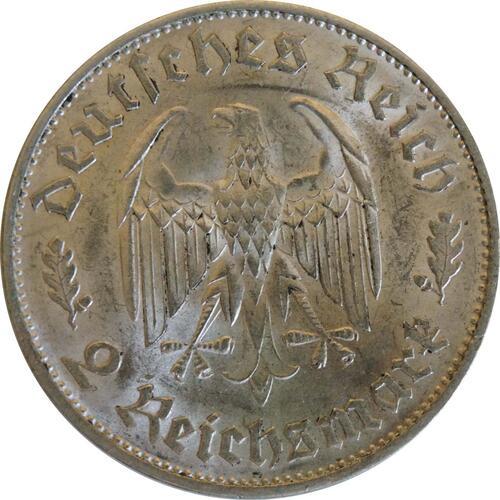 Rückseite :Deutschland : 2 Reichsmark Schiller  1934 vz/Stgl.