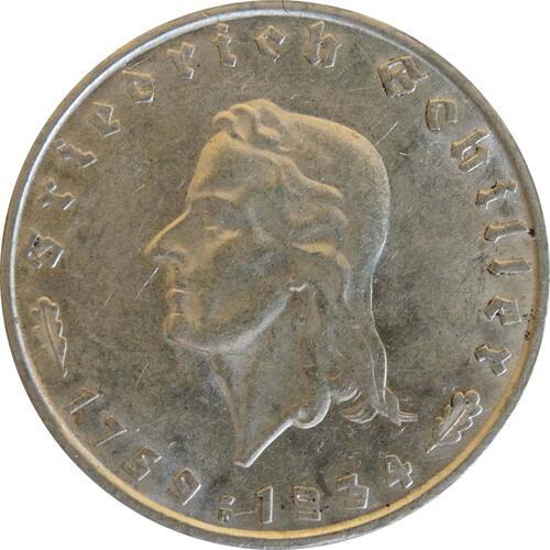 Vorderseite:Deutschland : 2 Reichsmark Schiller  1934 vz/Stgl.