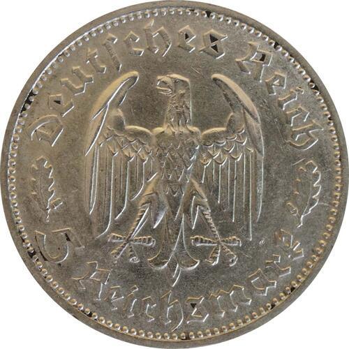 Rückseite :Deutschland : 5 Reichsmark Schiller  1934 ss.