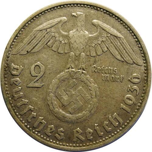 Rückseite :Deutschland : 2 Reichsmark Hindenburg  1936 ss/vz.