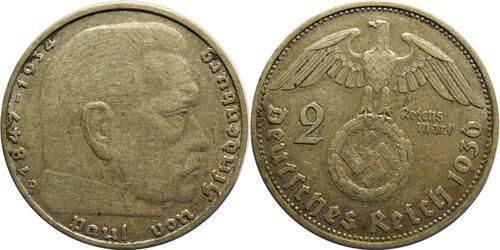 Lieferumfang :Deutschland : 2 Reichsmark Hindenburg  1936 ss/vz.