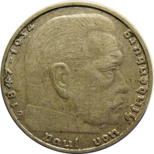 Vorderseite :Deutschland : 2 Reichsmark Hindenburg  1936 ss/vz.