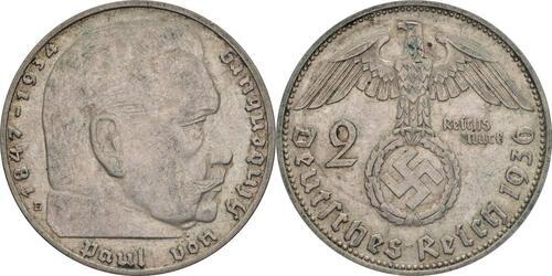 Lieferumfang:Deutschland : 2 Reichsmark Hindenburg  1936 ss.
