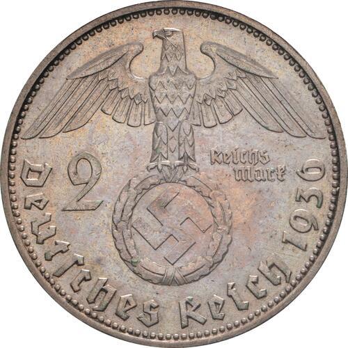 Rückseite:Deutschland : 2 Reichsmark Hindenburg  1936 ss/vz.
