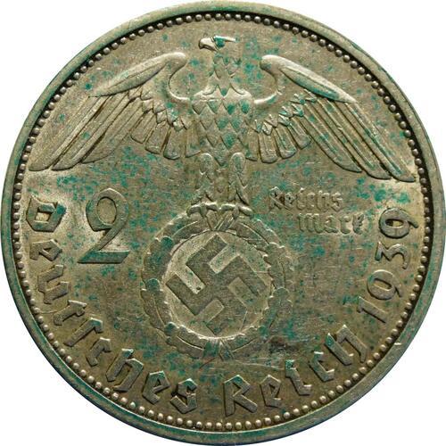 Rückseite:Deutschland : 2 Reichsmark Hindenburg patina 1939 ss/vz.