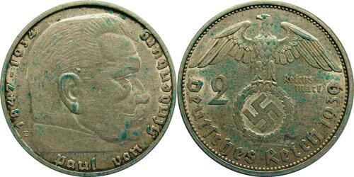 Lieferumfang:Deutschland : 2 Reichsmark Hindenburg patina 1939 ss/vz.