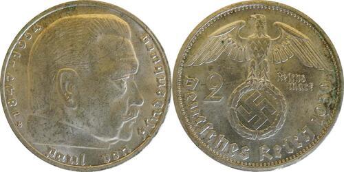 Lieferumfang:Deutschland : 2 Reichsmark Hindenburg  1939 vz.