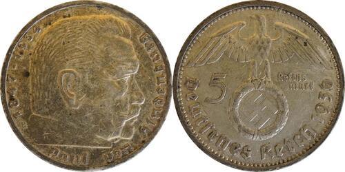 Lieferumfang :Deutschland : 5 Reichsmark Hindenburg  1936 ss.