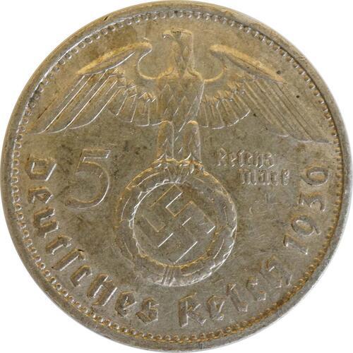 Rückseite:Deutschland : 5 Reichsmark Hindenburg  1936 ss.