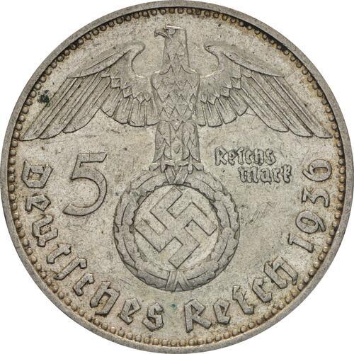 Rückseite :Deutschland : 5 Reichsmark Hindenburg  1936 ss.