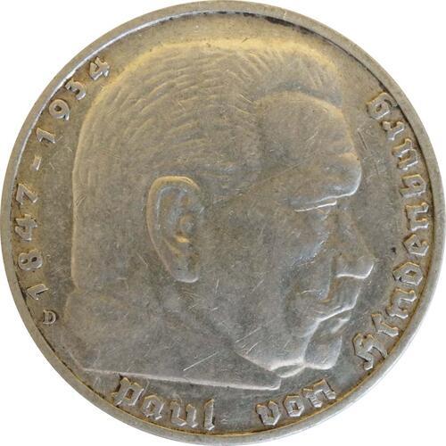 Vorderseite:Deutschland : 5 Reichsmark Hindenburg  1939 ss/vz.