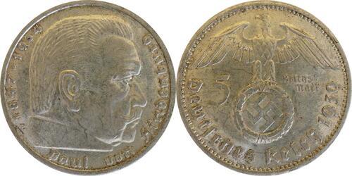 Lieferumfang :Deutschland : 5 Reichsmark Hindenburg  1939 ss/vz.