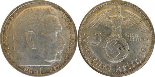 Lieferumfang:Deutschland : 5 Reichsmark Hindenburg  1939 ss/vz.