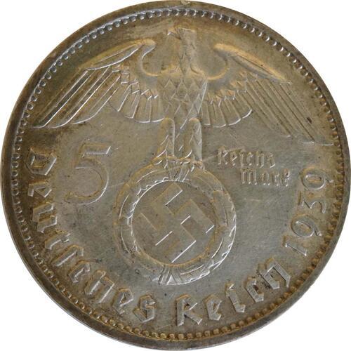 Rückseite:Deutschland : 5 Reichsmark Hindenburg  1939 ss.