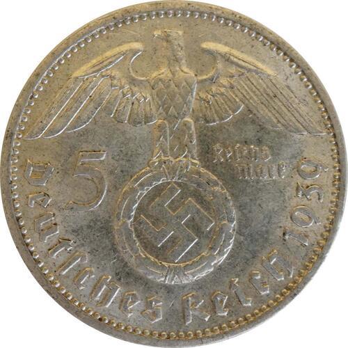 Rückseite:Deutschland : 5 Reichsmark Hindenburg patina 1939 ss/vz.