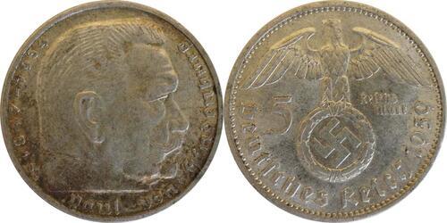 Lieferumfang:Deutschland : 5 Reichsmark Hindenburg patina 1939 ss/vz.