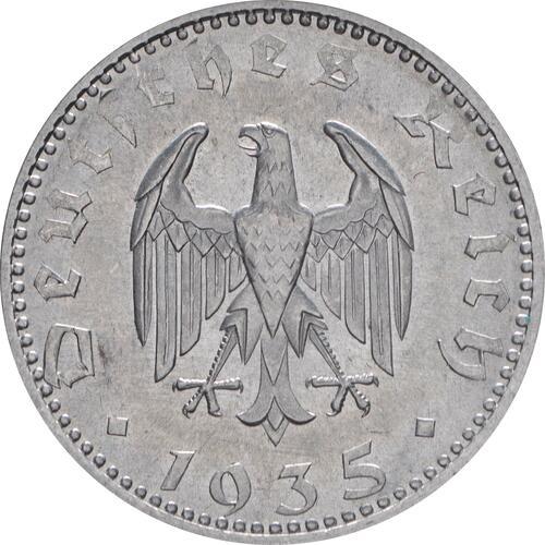 Rückseite:Deutschland : 50 Reichspfennig Kursmünze -fein- 1935 Stgl.