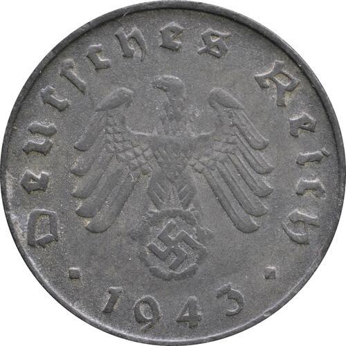 Rückseite :Deutschland : 10 Reichspfennig Kursmünze -selten- 1943 ss.