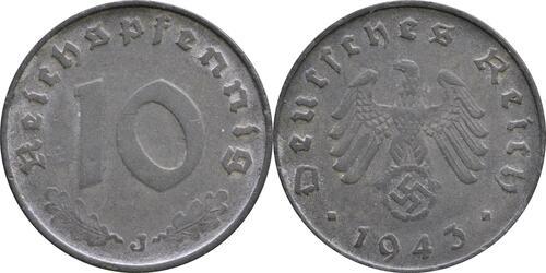Lieferumfang:Deutschland : 10 Reichspfennig Kursmünze -selten- 1943 ss.