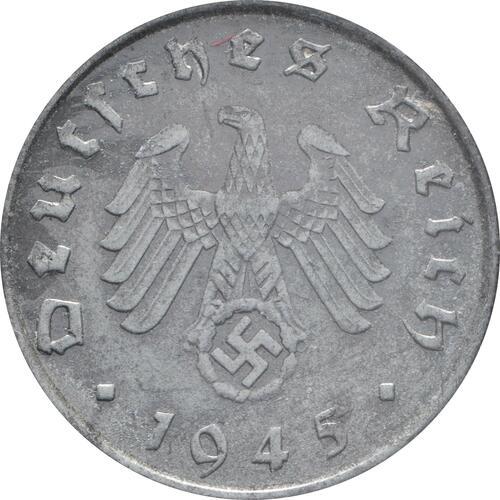 Rückseite:Deutschland : 10 Reichspfennig Kursmünze zaponiert 1945 vz.
