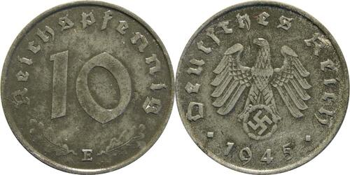 Lieferumfang:Deutschland : 10 Reichspfennig Kursmünze zaponiert 1945 vz.