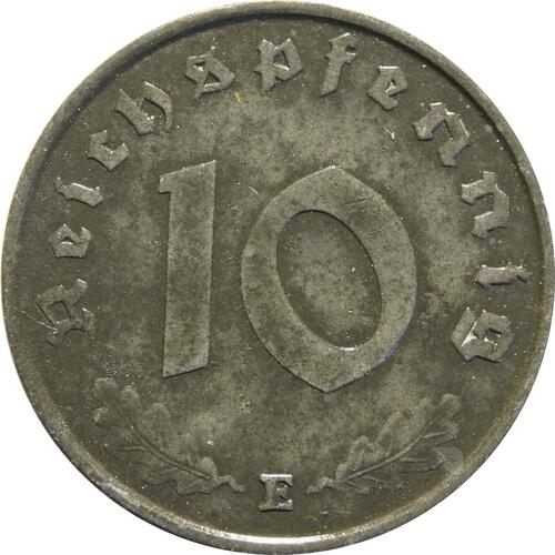 Vorderseite:Deutschland : 10 Reichspfennig Kursmünze zaponiert 1945 vz.