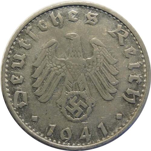 Rückseite:Deutschland : 50 Reichspfennig Kursmünze  1941 ss/vz.