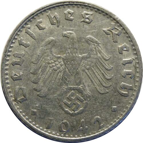 Rückseite :Deutschland : 50 Reichspfennig Kursmünze  1942 ss.