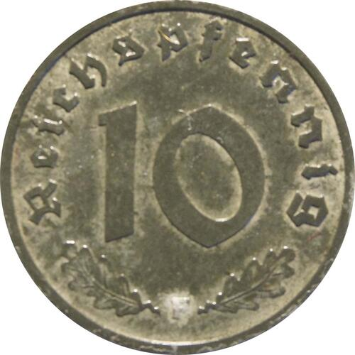 Vorderseite :Deutschland : 10 Reichspfennig Alliierte Besetzung zaponiert 1945 ss/vz.
