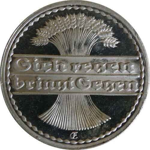 Rückseite:Deutschland : 50 Pfennig Kursmünze winz. Kratzer 1922 PP