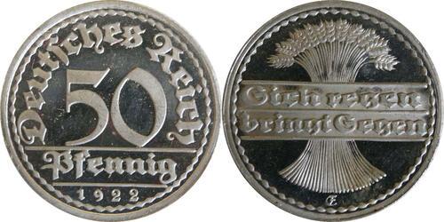 Lieferumfang:Deutschland : 50 Pfennig Kursmünze winz. Kratzer 1922 PP