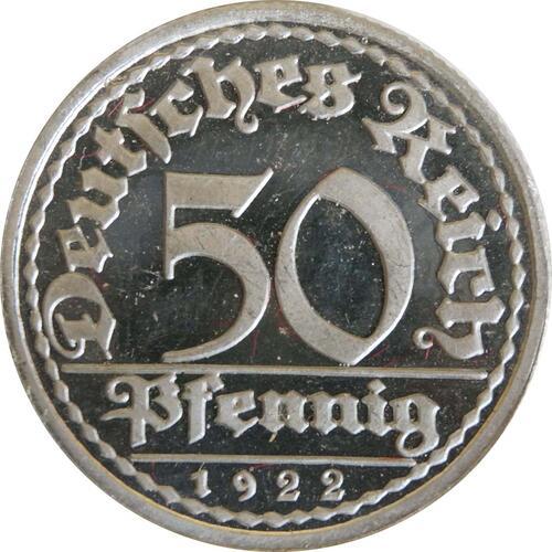 Vorderseite:Deutschland : 50 Pfennig Kursmünze winz. Kratzer 1922 PP