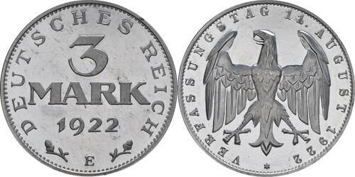 Lieferumfang:Deutschland : 3 Mark Verfassung winz. Kratzer, -selten- 1922 PP
