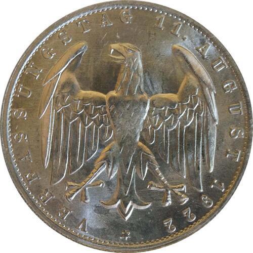 Rückseite :Deutschland : 3 Mark Verfassung  1922 Stgl.