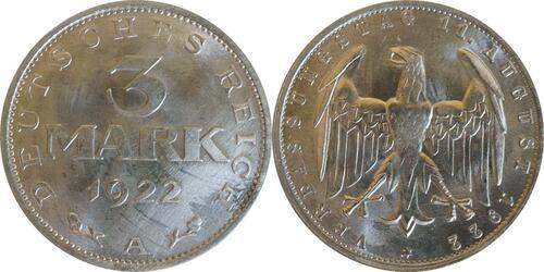 Lieferumfang :Deutschland : 3 Mark Verfassung  1922 Stgl.