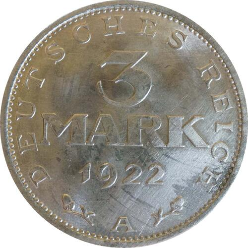 Vorderseite :Deutschland : 3 Mark Verfassung  1922 Stgl.