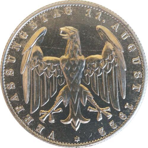 Rückseite:Deutschland : 3 Mark Verfassung  1922 PP