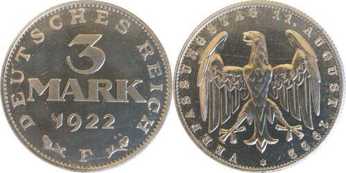 Lieferumfang:Deutschland : 3 Mark Verfassung  1922 PP