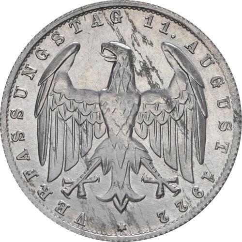 Rückseite :Deutschland : 3 Mark Verfassung  1922 vz/Stgl.
