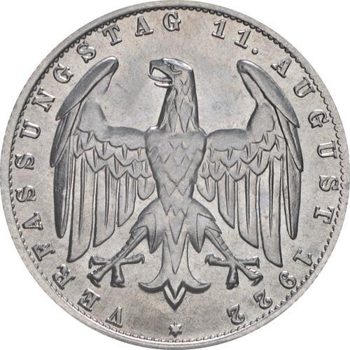 Rückseite:Deutschland : 3 Mark Verfassung -selten- 1922 Stgl.