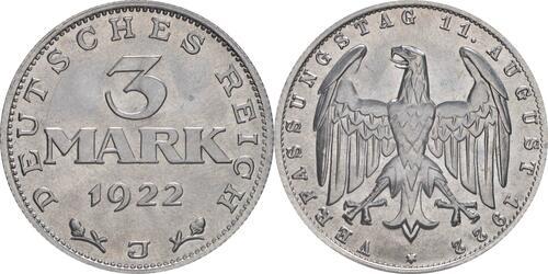 Lieferumfang:Deutschland : 3 Mark Verfassung -selten- 1922 Stgl.