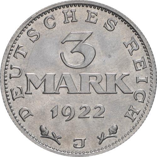 Vorderseite:Deutschland : 3 Mark Verfassung -selten- 1922 Stgl.