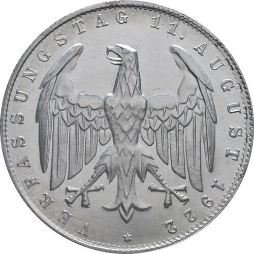 Rückseite:Deutschland : 3 Mark Verfassung ber. 1922 PP