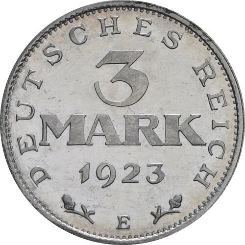 Vorderseite:Deutschland : 3 Mark Verfassung ber. 1922 PP