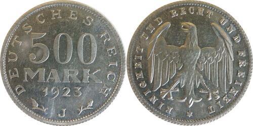 Lieferumfang :Deutschland : 500 Mark Kursmünze -selten- 1923 Stgl.
