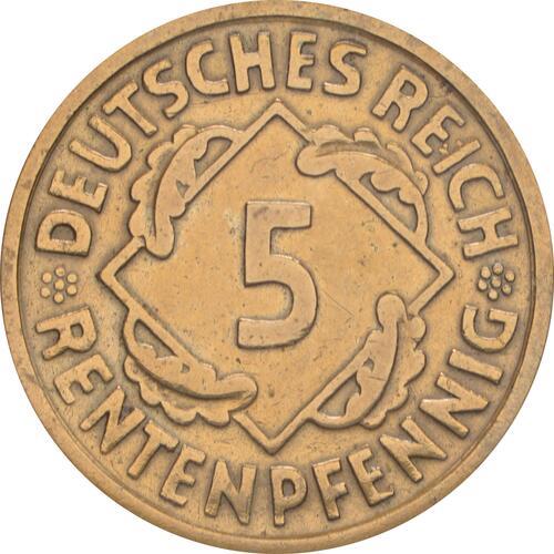 Vorderseite :Deutschland : 5 Rentenpfennig Kursmünze -selten- 1923 ss.