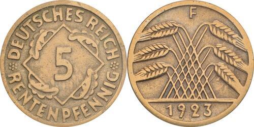 Lieferumfang :Deutschland : 5 Rentenpfennig Kursmünze  1923 ss/vz.